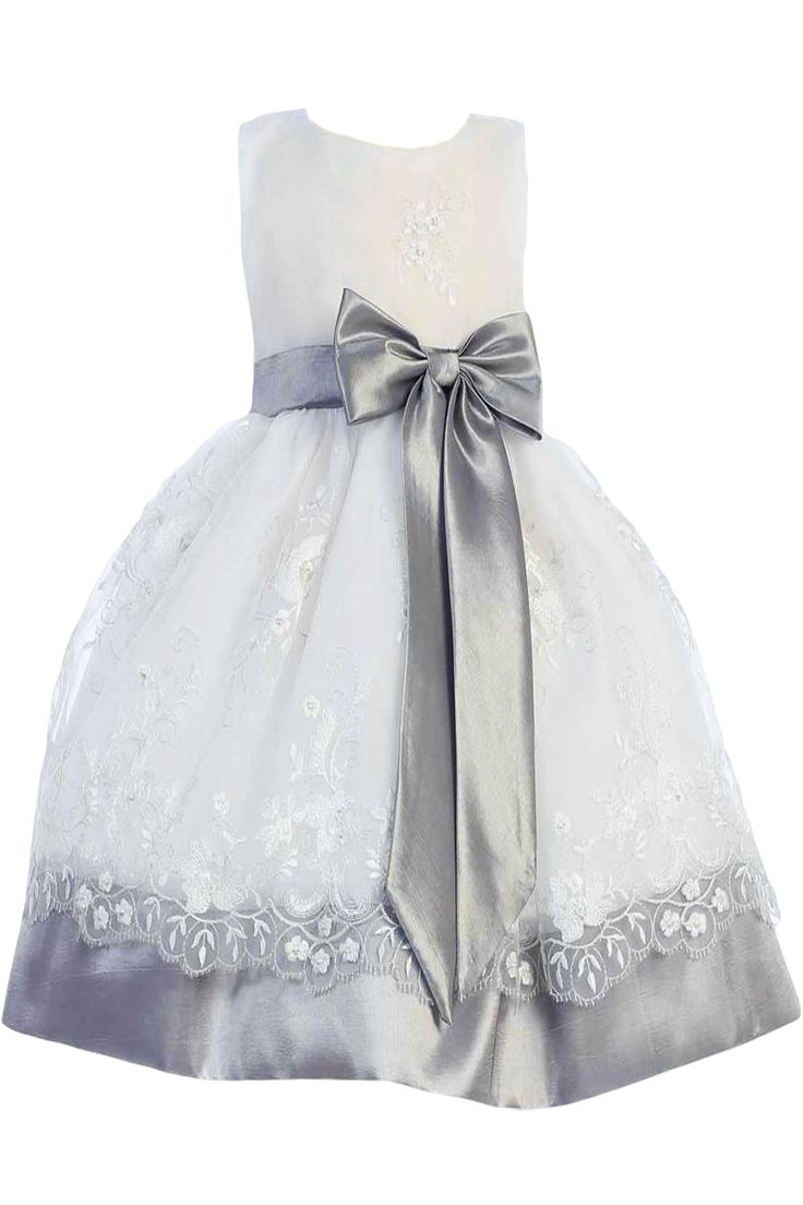 White silver floral embroidered organza overlay dress