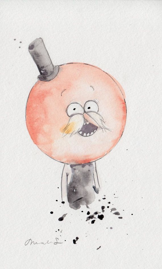 ORIGINAL PAINTING Pops Regular Show Fan Art 5x8 by nicolesloan, $25.00