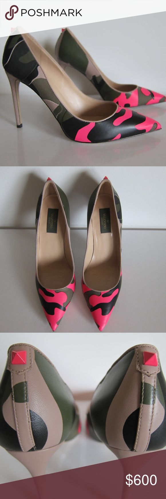 Valentino shoes Army fatigue print 4 inch high heels Valentino Shoes Heels