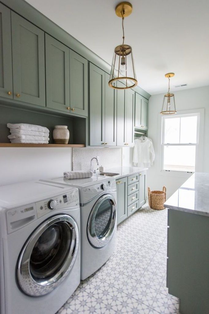2018 Trend Sage Green Cabinetrybecki Owens Laundry Room Tile Laundry Room Storage Farmhouse Laundry Room
