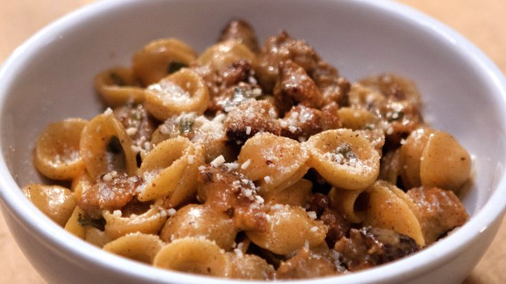 An easy orecchiette pasta recipe with spicy Italian sausage, brown butter, and sage from Jon Shook and Vinny Dotolo for Plated.
