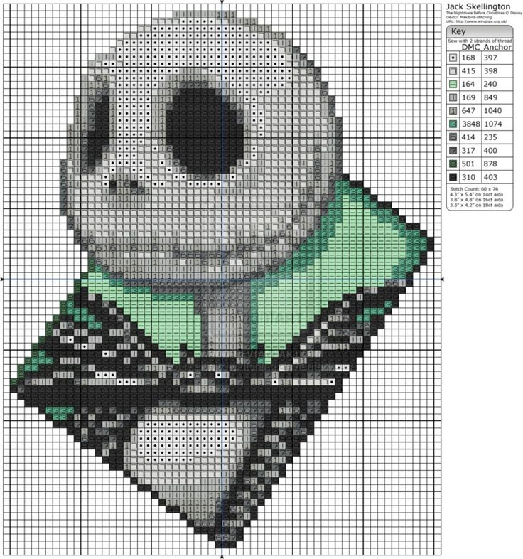 The Nightmare Before Christmas - Jack Skellington Cross Stitch Pattern