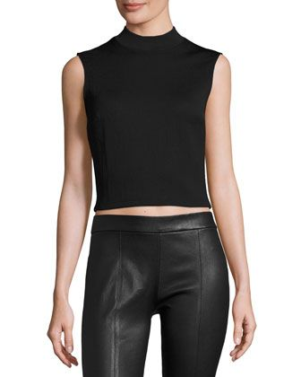 Sleeveless+Cropped+Ponte+Top,+Darkest+Black+by+McQ+Alexander+McQueen+at+Bergdorf+Goodman.