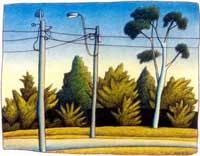 Telegraph poles and a gum tree, Moranbah, 1997, Chris O'Doherty aka Reg Mombassa,  charcoal and coloured pencil on paper. Image courtesy of the artist.