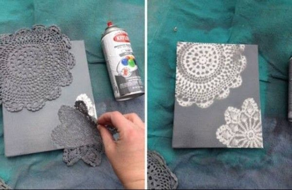 Another way to use doilies as stencils is with a good old fashioned can of spray paint on canvas.