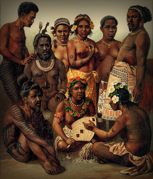 "Tattooed Ethnic ""Types"" of the South Pacific, 1890. This color lithograph from a German lexicon was employed to scientifically record human ..."