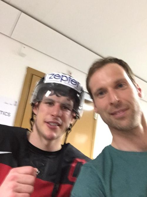 Sidney Crosby and Petr Čech at the World Championship.  https://twitter.com/PetrCech/status/595994394681016321