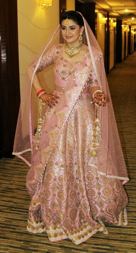light pink gold silver lengha