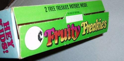 Fruity Freakies cereal box