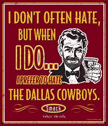 Washington Redskins Fans. I Prefer to Hate (Anti-Cowboys). Metal Man Cave Sign