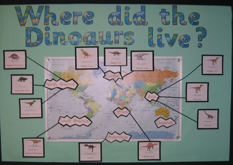 Year 2 children study dinosaurs, term topic links in well with geography and history studies.
