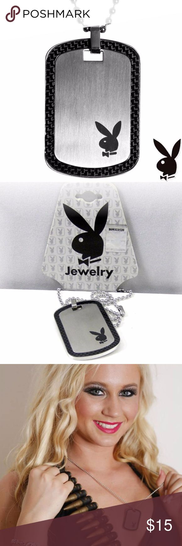NEW Mens Playboy Necklace Dog Tag Stainless Steel Authentic Playboy Necklace with Dog Tag pendant made of quality Titan Stainless Steel enhanced with Black Carbon Fiber and the Playboy Bunny Logo. Genuine Official Licensed Men's Playboy Dogtag Necklace - Rabbit Head Design. Ball Chain measures 24 inches long. Dog Tag pendant measures 1.75 inches long X 1.25 inches wide. As seen on Daniel Pomerantz, CEO of Playboy Israel & Jessy Erinn, former Playboy bunny & model. Includes Playboy hanging…