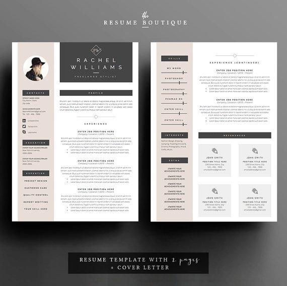 3page Resume / CV Template Cover Letter For Por TheResumeBoutique