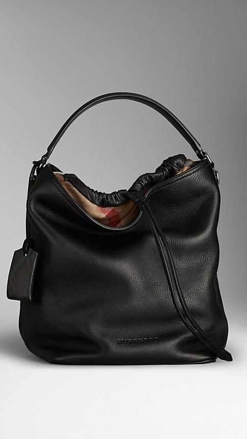 Medium Brit Check Leather Hobo Bag | Burberry
