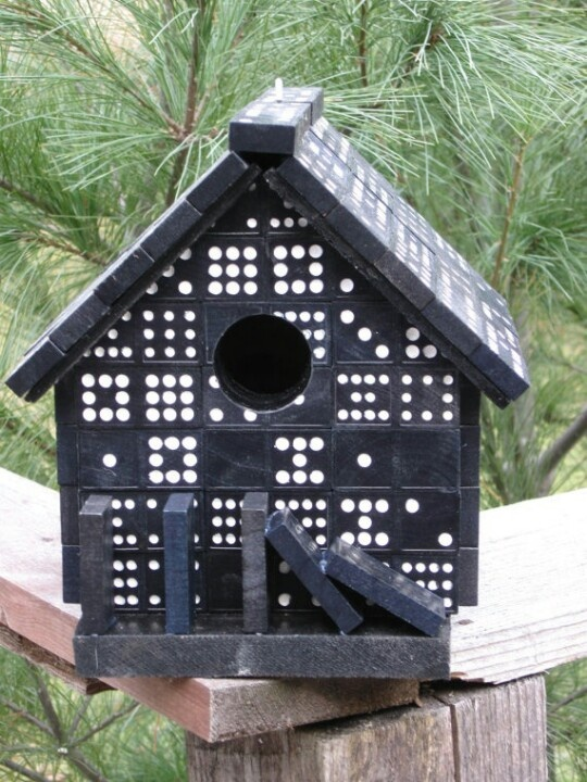 Bird house made out of old dominoes!!!!