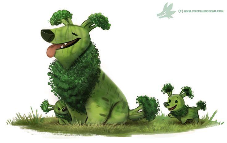 Daily Paint #1234. Broccollie by Cryptid-Creations.deviantart.com on @DeviantArt Dibujo de mezcla entre animales y frutas