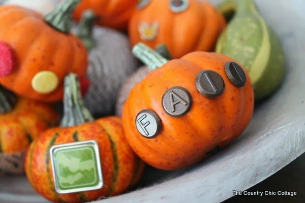 Bradded Pumpkins -- a 5 minute way to update fake or real pumpkins.  Just insert brads by pushing!  So simple!  Click to see a variety of wa...
