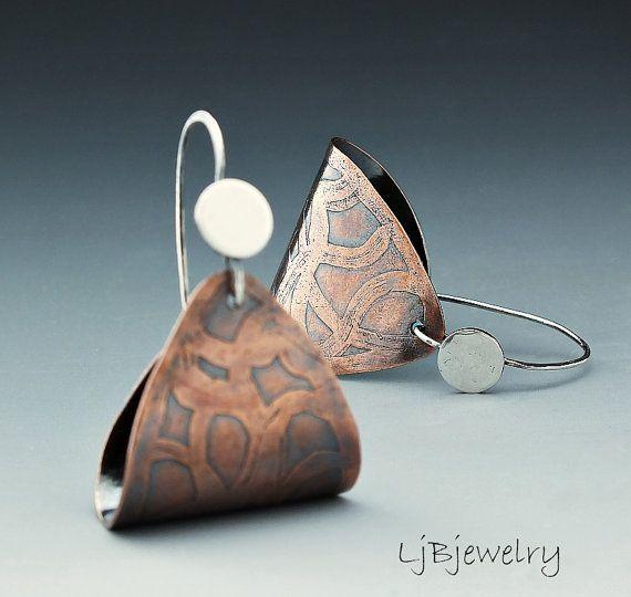 Copper Earrings, Dangle Earrings, Mixed Metal Earrings, Etched Copper, Metalsmith, Hoop Earrings $52.00