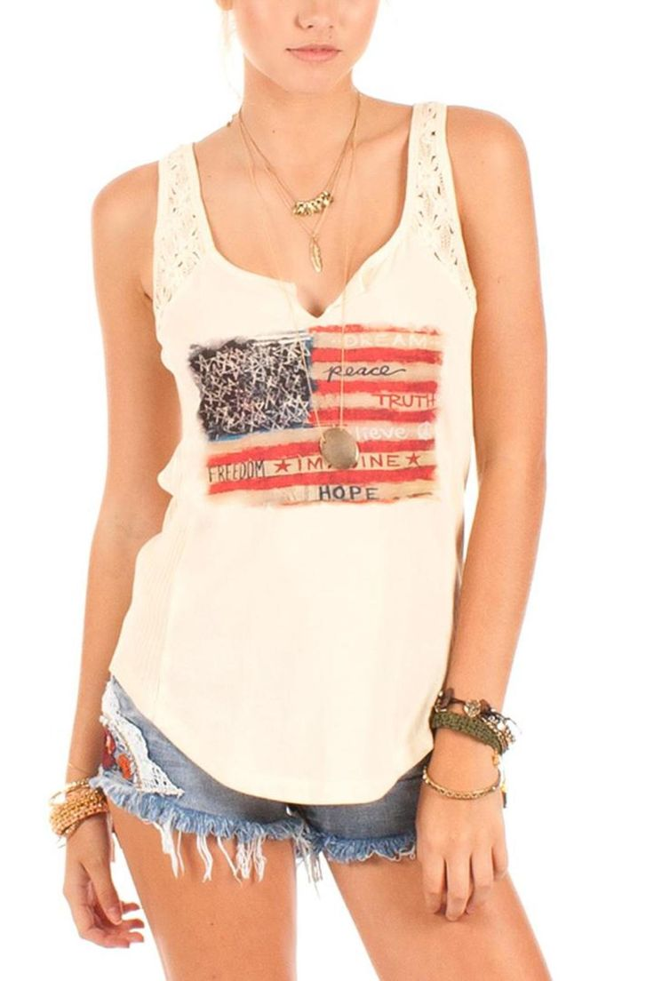 This Americana tank with lace contrast and split v-neck is the perfect casual piece all year round! It has an easy fit and soft cotton fabric. Throw it on with a pair of denim shorts or jeans to complete the look. When the evening gets cold, add your favorite jean jacket.   Wanderlust Top by Others Follow . Clothing - Tops - Casual Clothing - Tops - Sleeveless Clothing - Tops - Tees & Tanks Colorado