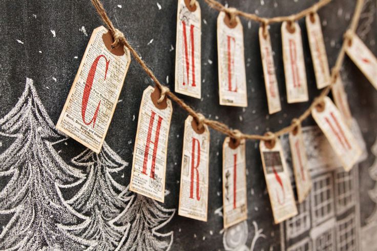 Christmas chalkboard banner I like the tags being used for each letter