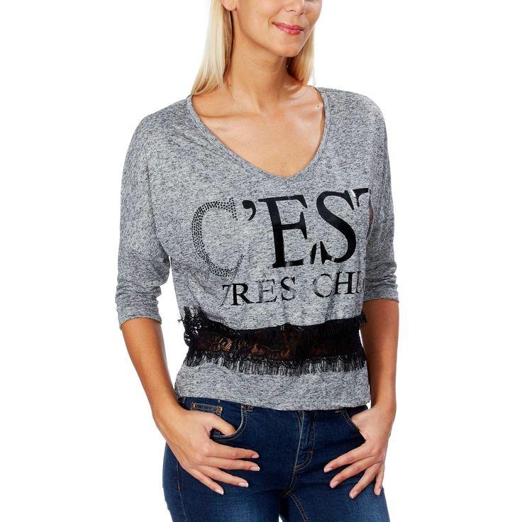 Tee-shirt avec dentelle Femme - Kiabi - 4,49€
