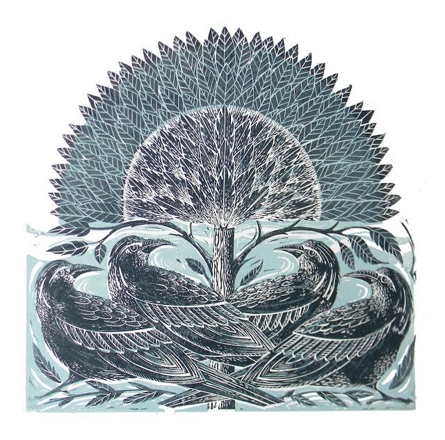 Four Crows Lino Cut Print-Amanda Colville