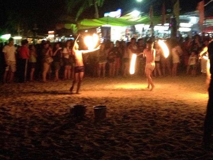 Fire dancers in White Beach, Puerto Galera