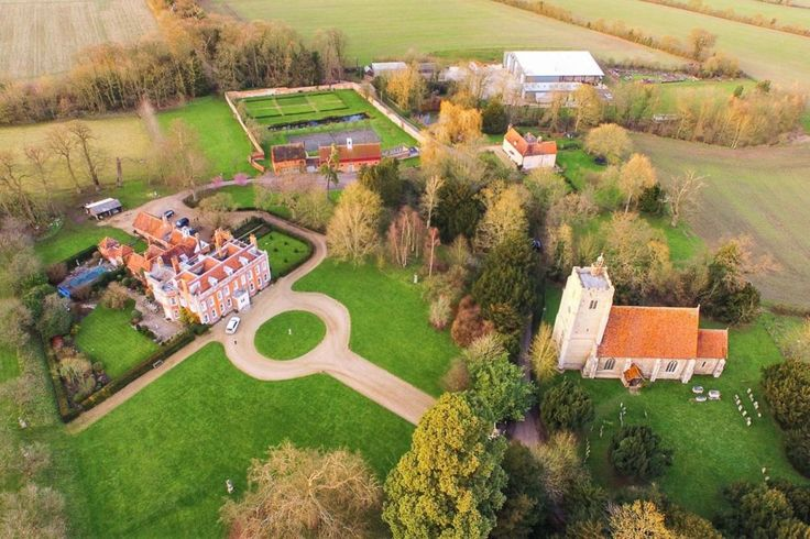 A #birdseye view of the Belchamp Hall estate, with the Hall, St Mary's Church and the Lovejoy accommodation all in view! #countryside #fields #suffolk #essex #weddings
