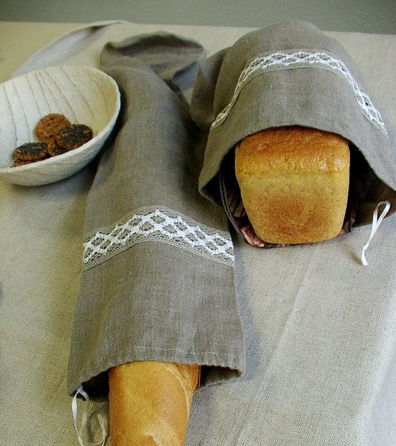 Natural Linen Bag Pouch for Bread--Baguette, Homemade, Artisan Bread--set of Two. via Etsy.