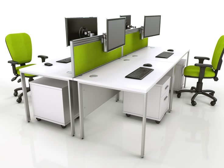 A Bench Desk Configuration With Screens Tool Rail