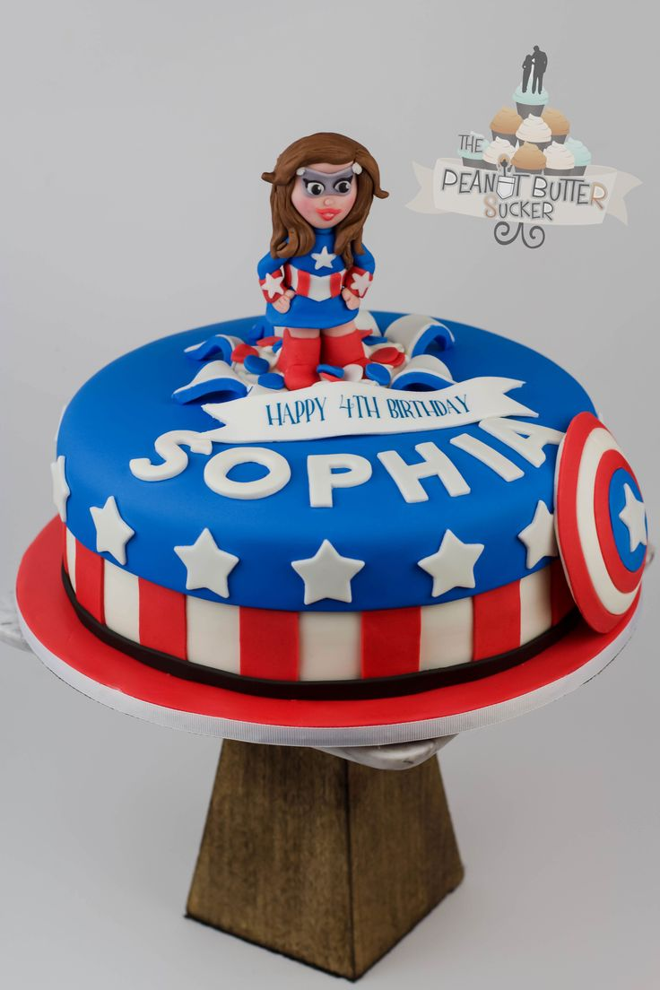 Captain America Girl Birthday Cake