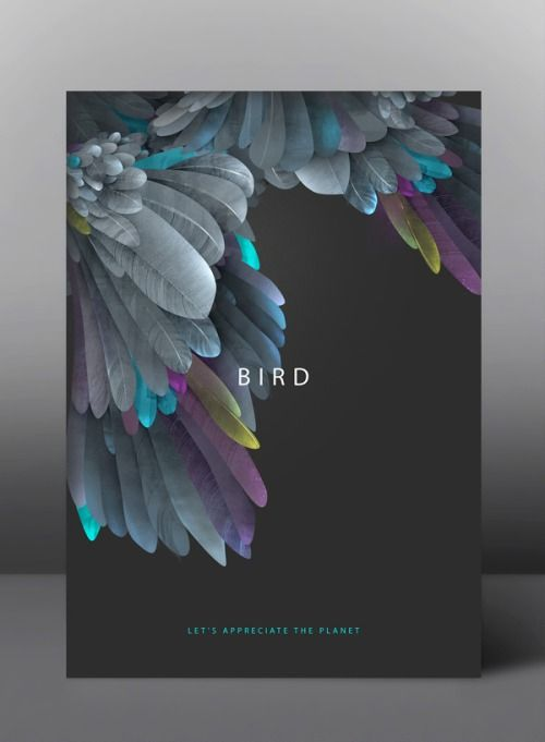 "BIRD, a poster from the ""Life On Earth"" series by Ukrainian graphic designer Yevgeniya Glova."