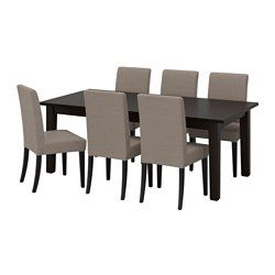 Extendable dining table with two extra leaves seats 6-10, so you can quickly and easily adapt the table to your needs. Solid pine; a natural material that ages beautifully.