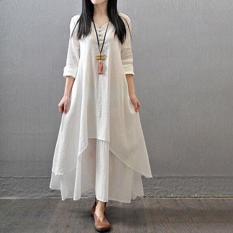2016 Primavera Talla Plus Mujer Casual Manga Larga Algodón Ropa Vestido De Camisa De Vestir