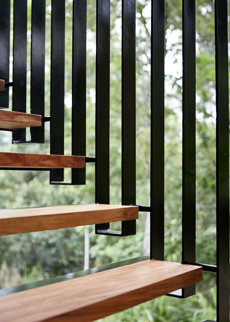 Modern Stairs // wood and steel steel stairs detail at by Jessee Bennett & Anne-Marie Campagnolo
