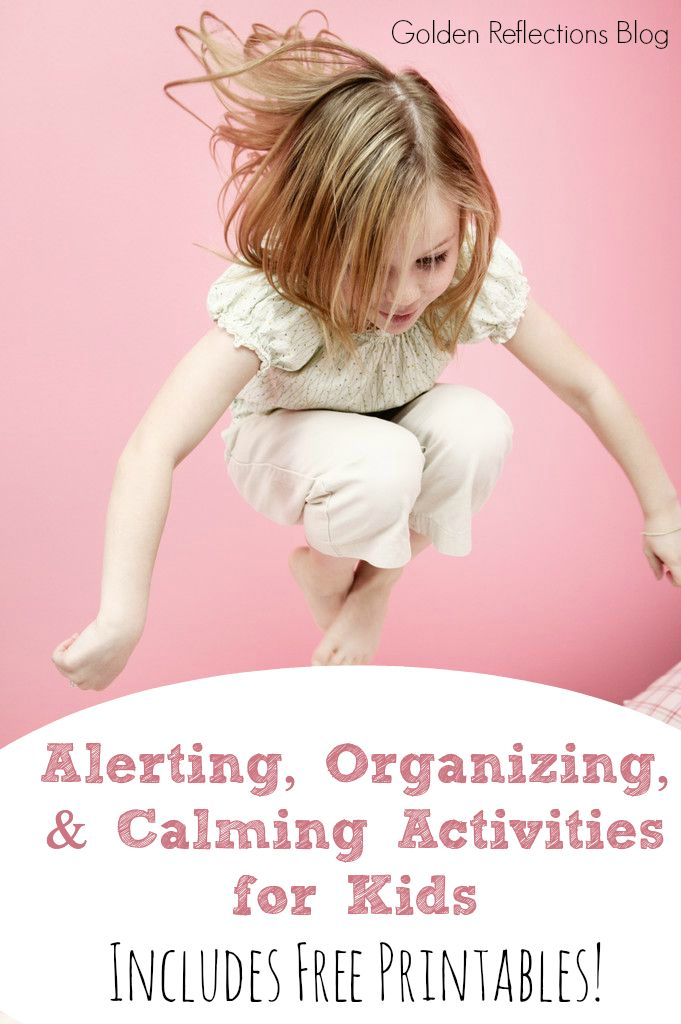 Need some ideas to get your kids calmed and focused? Free printables of calming, organizing and alerting activities for children.
