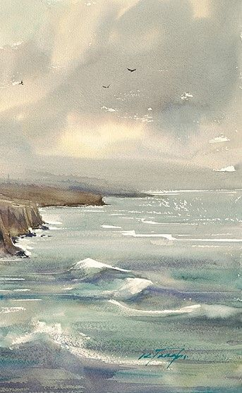 """Keiko Tanabe ~ """"Winter Sky over Sunset Cliffs III"""" ~ Watercolor (Détail)"""