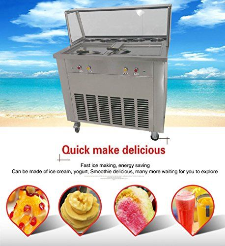 Yoli double Square pans fried ice cream machine,Thailand ice cream roll making machine with Two compressor,two control box, working independently,10V/220V