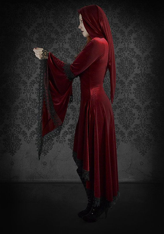 Lucilla Hooded Gothic Gown in Velvet and Lace  by rosemortem, $229.00