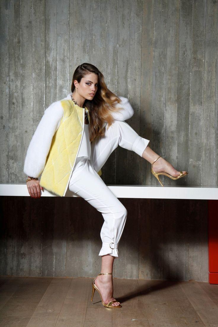 Yellow & White Mink fur jacket.