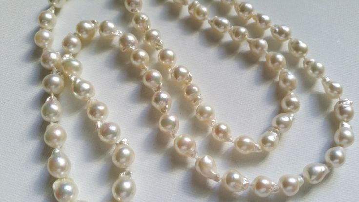 Salt Water & Fire Opera length vintage appeal baroque cultured fresh water strand with 9ct YG oval clasp $365