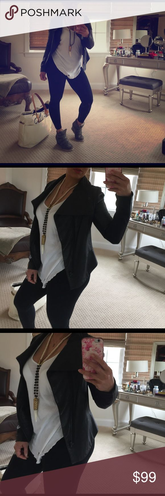 DALLIN CHASE CROP LEATHER JACKET S Genuine leather, used but in great clean condition. Asymmetrical front zipper, cropped in the back.  This was my go to airport travel outfit with my leggings and wedge sneakers. dallin chase Jackets & Coats
