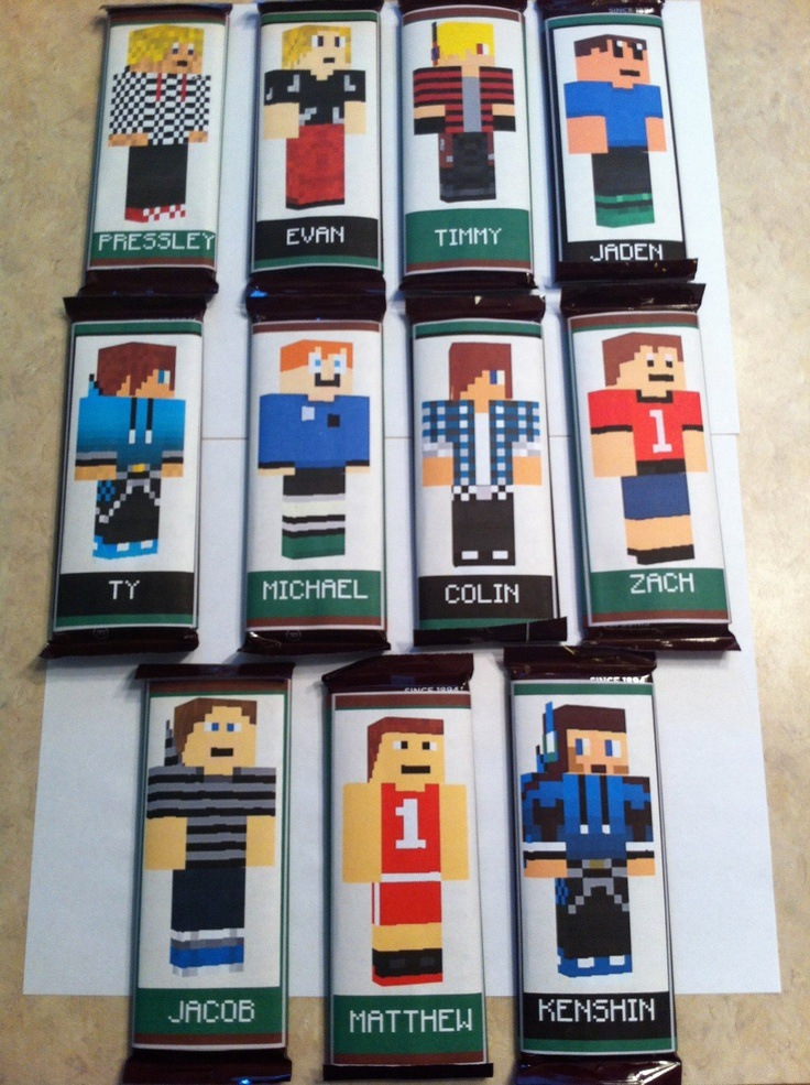 Personalized Minecraft Skins Candy Bar Wrappers Digital Party Favors. $15.00 USD, via Etsy.