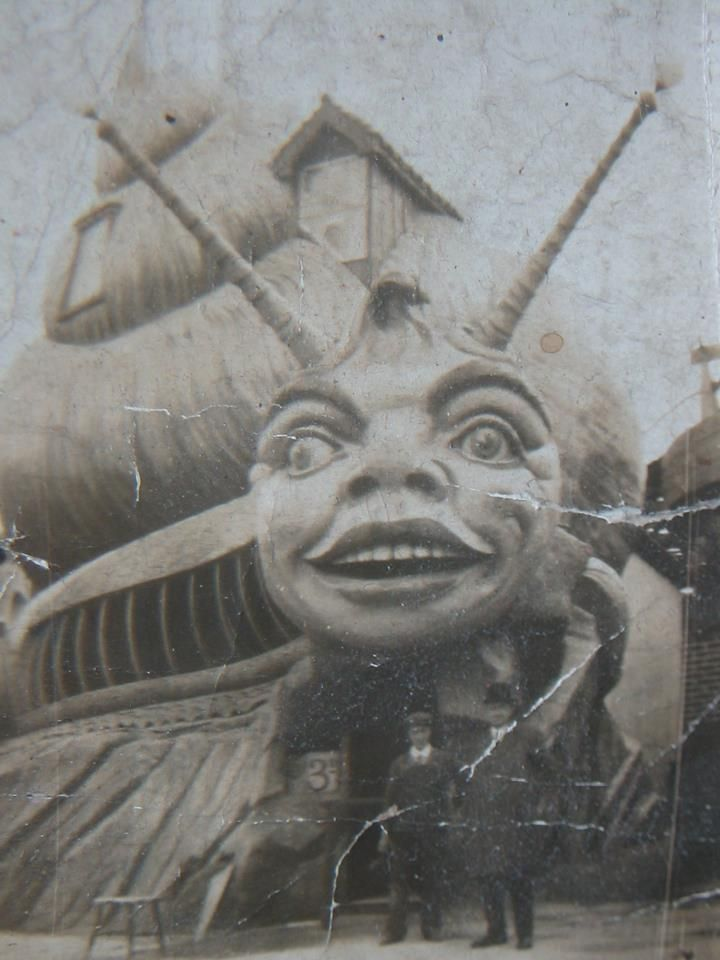 The Haunted Snail Ride at Dreamland, Margate, UK Circa 1920s ( The ride is no longer standing). Dreamland is the oldest amusement park in opening in 1870. There is a movement to save the park and you can get more info here: http://www.joylandbooks.com/scenicrailway/index.htm