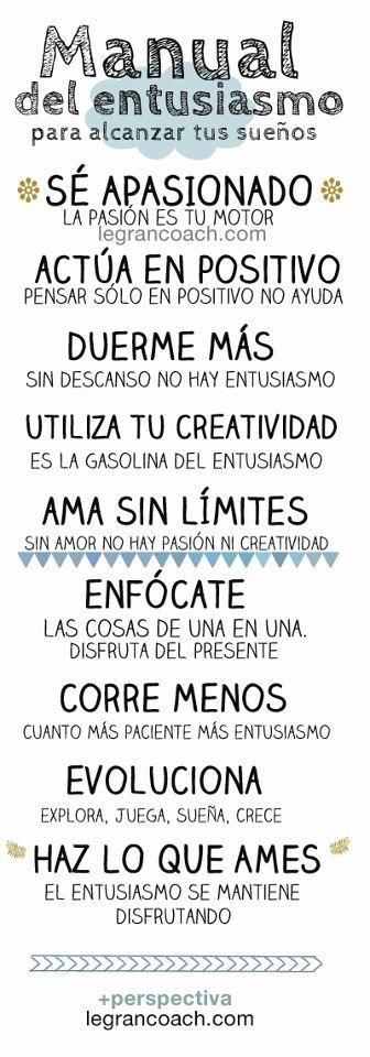 Manual del #entusiasmo para alcanzar tus #sueños