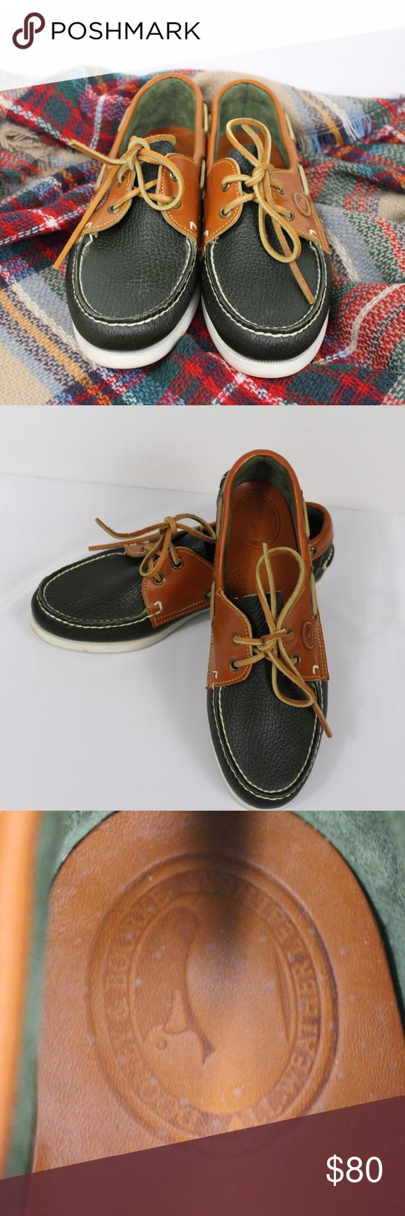 Dooney & Bourke Green Leather Boat Shoes Sz 8.5M Dooney & Bourke Green Leather Boat Shoes Sz 8.5M. Shoes are in very good condition.  Light soil around bottoms. Dooney & Bourke Shoes Flats & Loafers