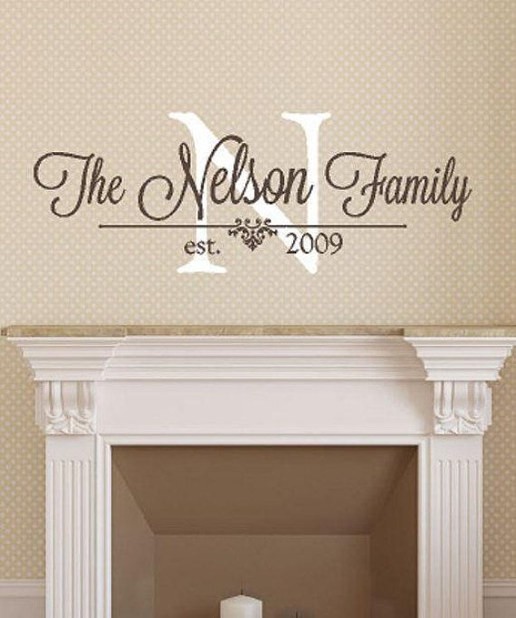 Bon Family Monogram Wall Decal Personalized Family Name   Wedding Gift Idea    Wall Art   Wall
