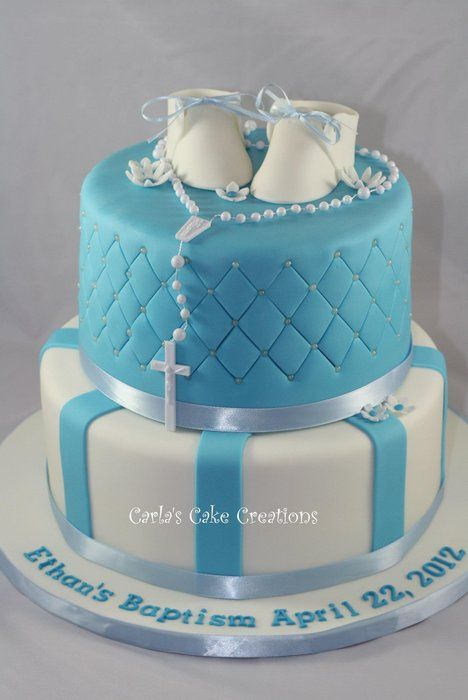 Baptism cake - I like this for a communion cake except switch out the booties for a cross or something like that.