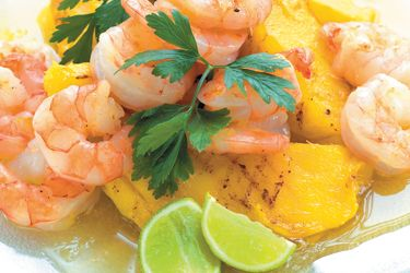 Prawns and mango with honey lime dressing recipe, NZ Woman's Weekly – visit Food Hub for New Zealand recipes using local ingredients – foodhub.co.nz