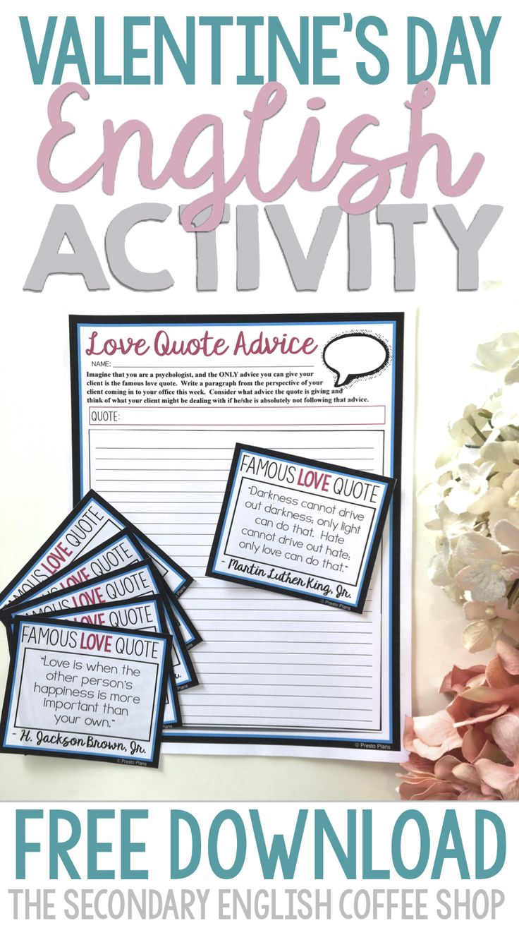 Try this free Valentine's Day activity in your middle and high school English classroom! Students imagine they are psychologists and use famous love quotes to advise their clients!